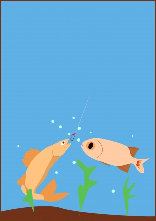 Fishing poster or flyer background with space photo