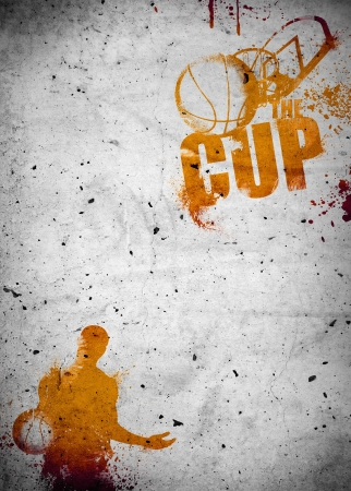 Abstract color basketball and streetball poster or flyer background with space photo