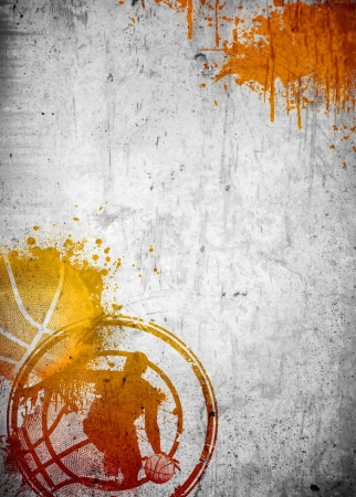 basketball: Abstract color basketball and streetball poster or flyer background with space