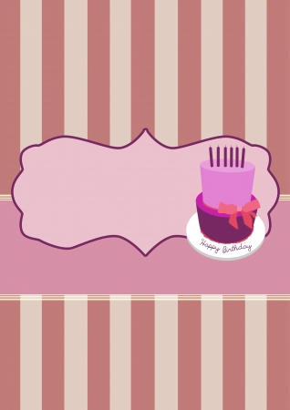 Birthday cake invitation card background with space photo