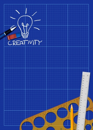 Abstract business blueprint poster background with space photo