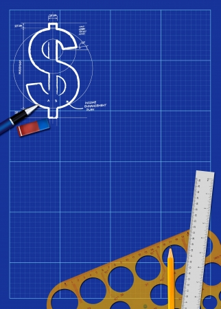 square ruler: Abstract business blueprint poster background with space Stock Photo