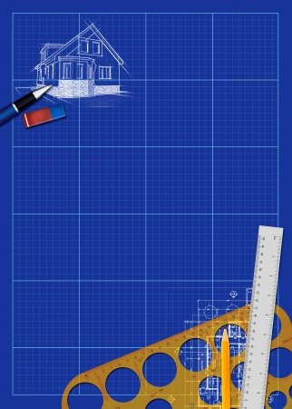 Abstract house blueprint poster background with space photo