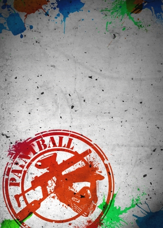 paintball: Abstract grunge paintball poster or flyer background with space Stock Photo