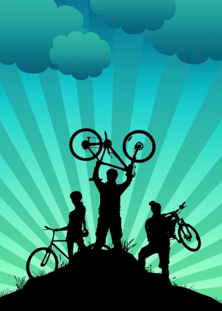 Bike tour sport poster background with space photo