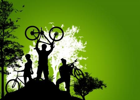 silueta ciclista: Tour en bicicleta historial deportivo con el espacio del cartel Foto de archivo
