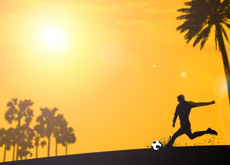 feet in sand: Summer soccer or football tournament invitation background