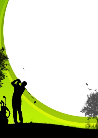 golf swings: Golf sport poster background with drawing figure Stock Photo
