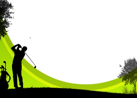 Golf sport poster background with drawing figure photo