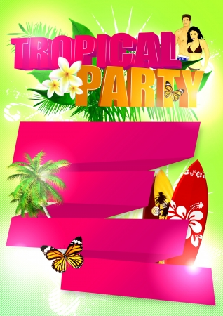 Summer tropical party poster background with space photo
