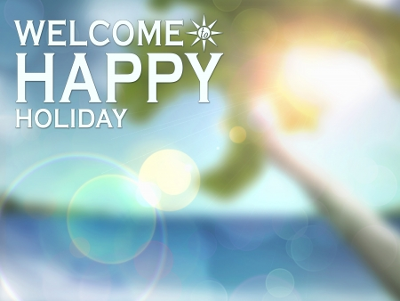 Happy summer holiday poster blur background with space photo