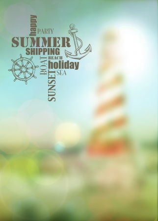 Summer lighthouse travel or boat party poster background with space photo
