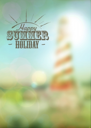Summer lighthouse travel or boat party poster background with space