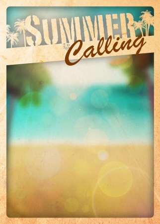 Summer holiday, travel or party poster background with space