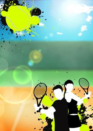 Abstracte kleur tennis sport poster achtergrond met ruimte Stockfoto
