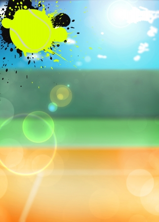 Abstract color tennis sport poster background with space photo