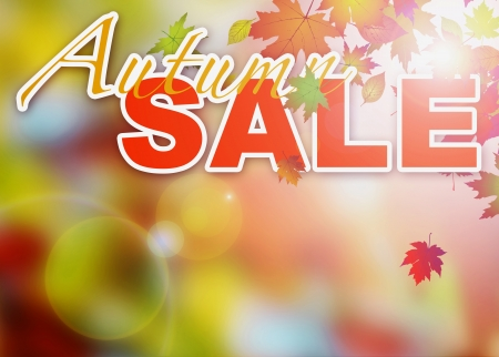 Abstract autumn sale poster or flyer background with space photo