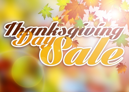 Autumn thanksgiving day sale poster or flyer background with space photo
