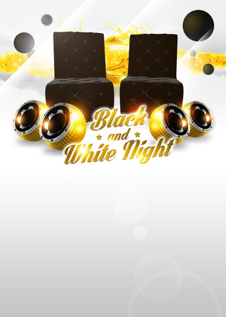 Abstract black and white party poster background with space photo