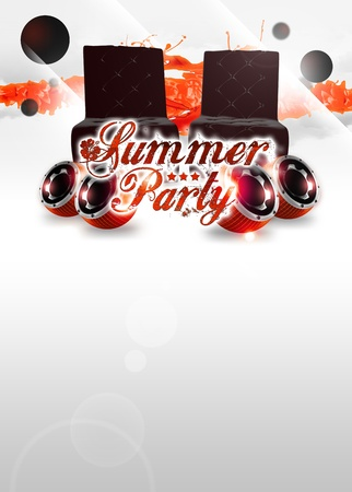 Abstract summer party invitation poster background with space photo