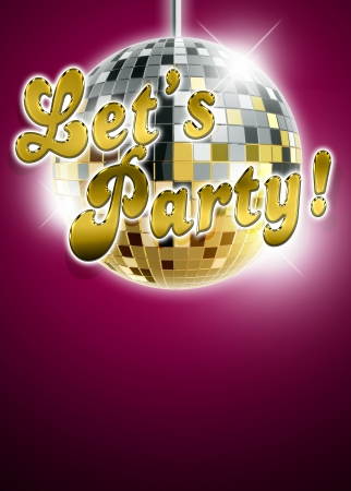 Lets party and mirrorball poster background with space photo