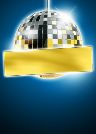 Abstract disco mirrorball poster background with space photo