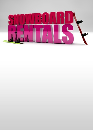 rentals: snowboard rentals promotional poster background