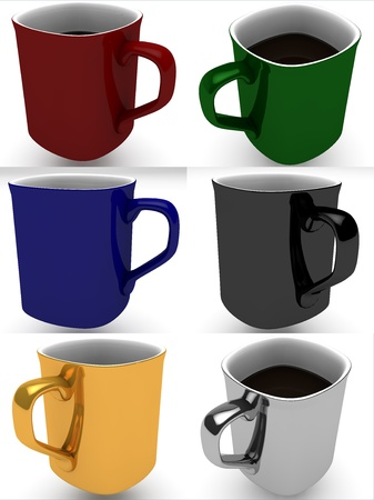 cofe: Six rendered 3D object: coffee mug set