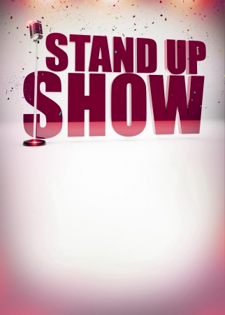 Stand up show abstract invitation poster background with space photo