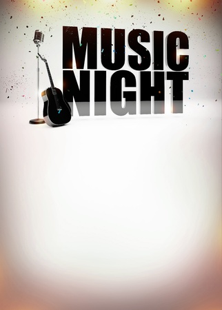 karaoke bar: Karaoke music night abstract poster background with space