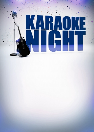 Karaoke music night abstract poster background with space
