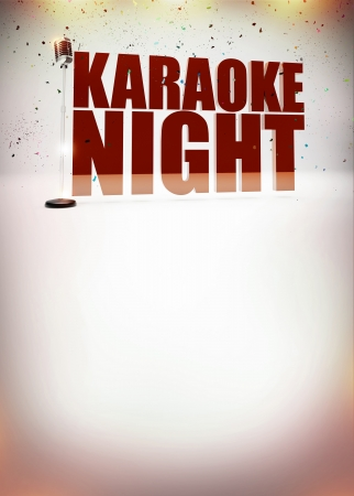 karaoke: Karaoke music night abstract poster background with space