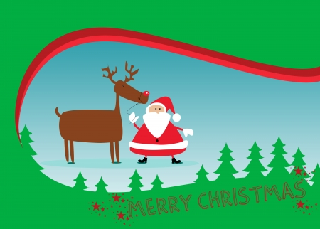 Santa and rudolph christmas background with space photo