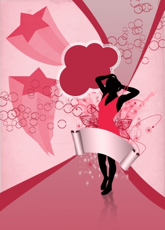 Girl at the party: invitation poster or flyer background with space photo