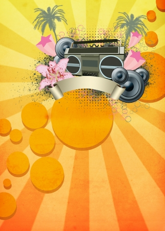 rec: Retro summer party invitation poster or flyer background with space Stock Photo