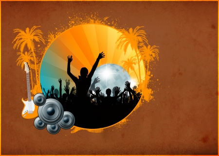 Summer party poster or flyer background with space photo