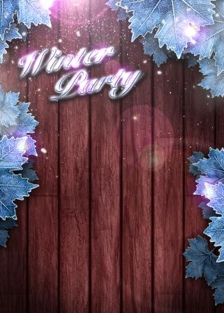 winter party: Partito di inverno invito manifesto o un volantino sfondo con lo spazio Archivio Fotografico