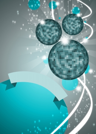 discoball: Abstract disco mirrorball poster background with space