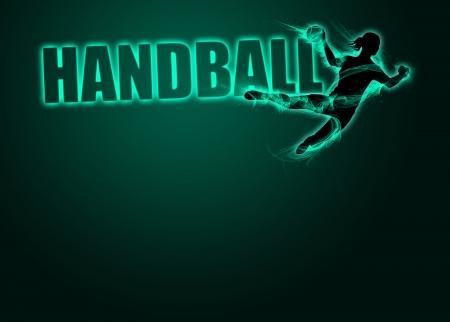 Femme handball affiche d'invitation de sport ou des prospectus d'information Banque d'images
