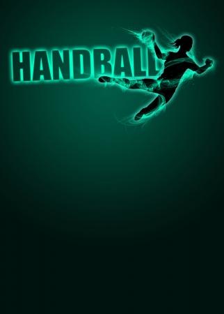 Femme handball affiche d'invitation de sport ou des prospectus d'information