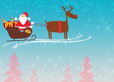 Santa and reindeer christmas background with space photo