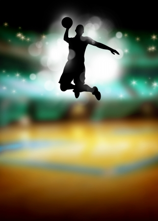 Basketball or streetball: sportsman jumping poster or flyer background with space photo