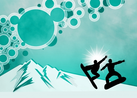 Winter sport, snowboard jump poster or flyer background with space photo