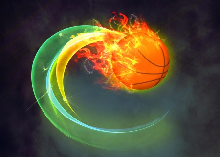 Basketball hoop and ball sport poster or flyer background with space photo