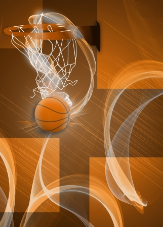 Basketball hoop and ball sport poster or flyer background with space