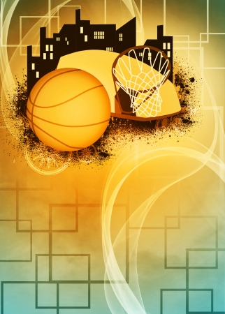 Basketball sport poster or flyer background with space photo
