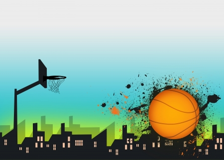 basketball net: Basketball sport poster or flyer background with space Stock Photo