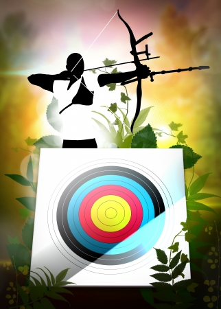 Archery sport invitation poster or flyer background with space photo