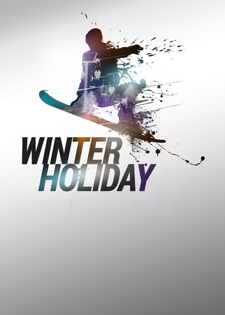 Winter sport vacation, snowboard jump poster or flyer background with space photo