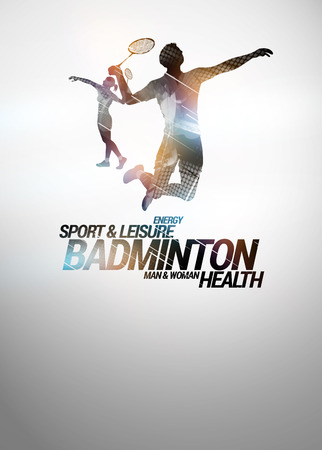 Badminton sport invitation poster or flyer backgraound with empty space photo